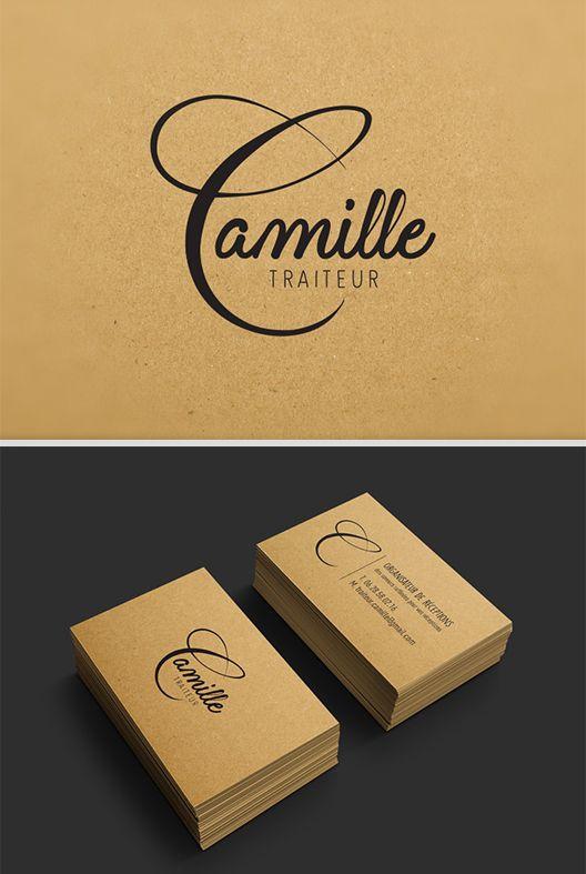 Graphisme Logo Traiteur Kraft Impression Creation Graphique Du Et De La Carte Visite Ainsi Que Limpression Sur Un Papier