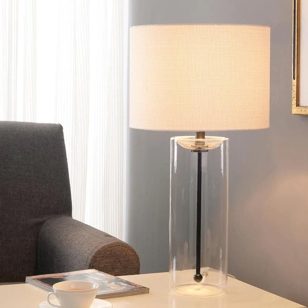 Strick Bolton Locke Clear Glass Cylinder Table Lamp