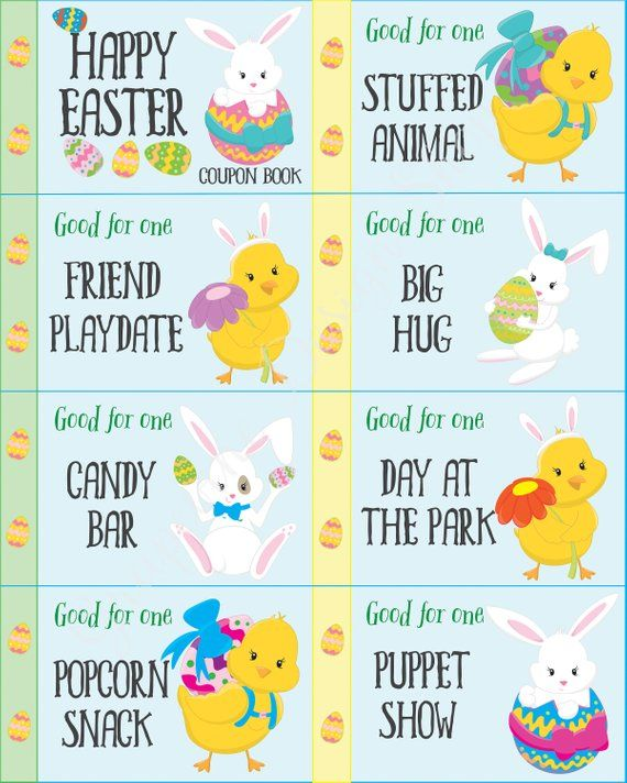 Easter Coupon Book. 31 Coupons+8 Blank. Kids Easter Gift