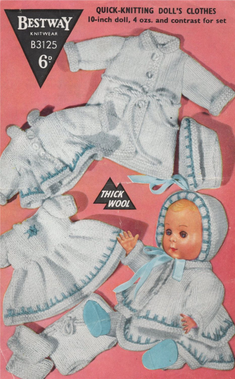 Dolls Clothes Knitting Pattern Pdf For 10 Inch Baby Doll Dolls Wardrobe Baby Reborn Dolls Vintage Knitting Patterns For Dolls Download Knitting Dolls Clothes Vintage Knitting Patterns Doll Clothes