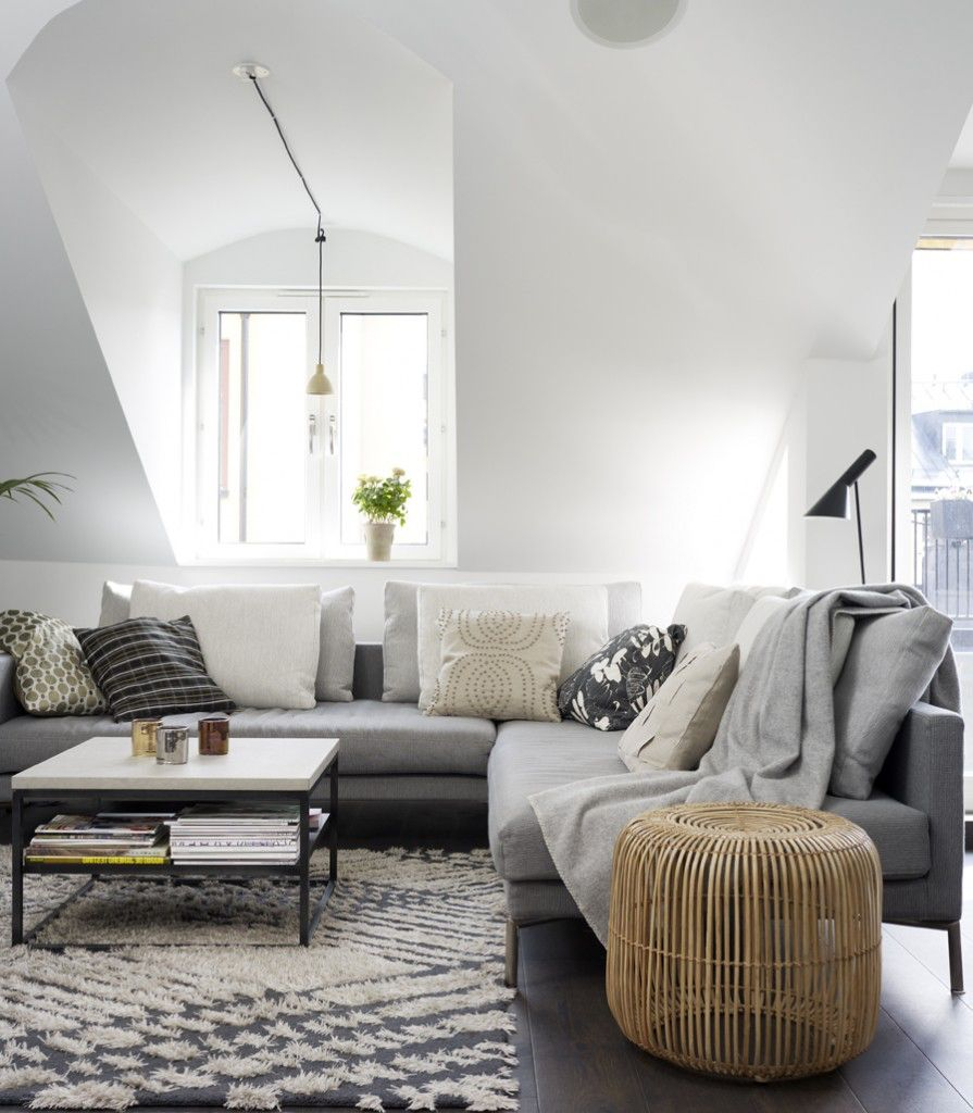 Living room colors: grey,brown leather, mixed metals, pops of white ...