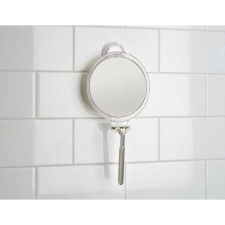 InterDesign Power Lock Suction Fog Free Shower Shaving Mirror With Razor  Holder For Bathroom, Clear