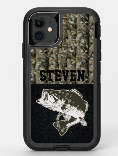 Camo Fish Bass Fishing Personalisierter Name OtterBox iPhone Hülle   – Cool Fish Theme Stuff for Fisherman