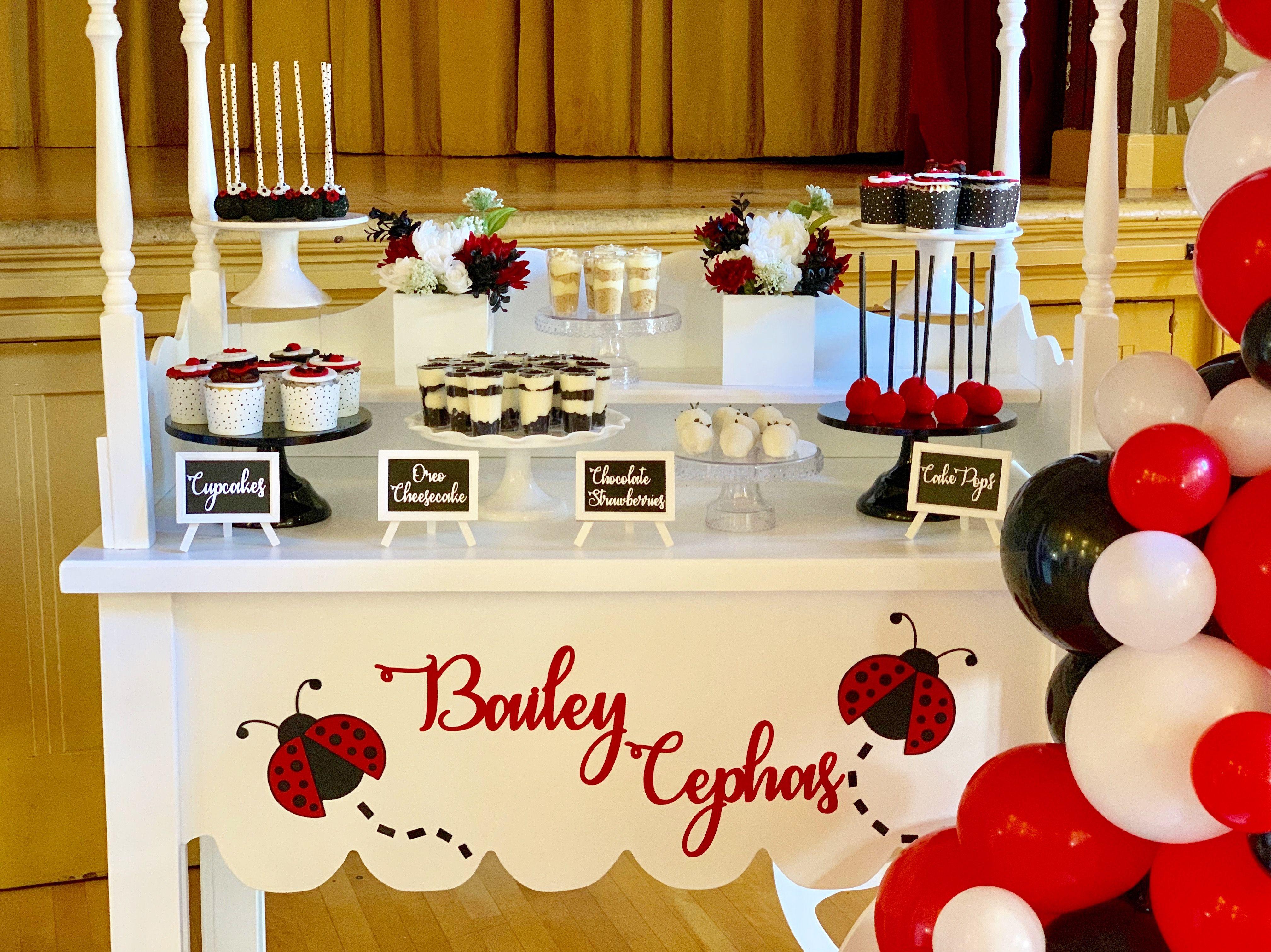 Candy dessert cart display ladybug theme  Fondant cupcake toppers