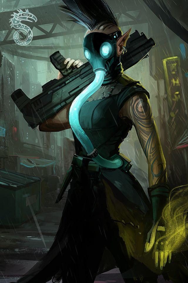 Shadowrun Elven Magicianadept With Gas Mask Shadowrun