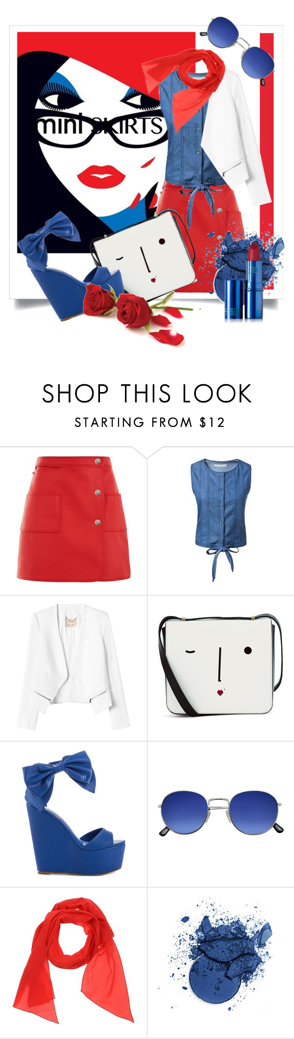 """Miniskirt"" by kari-c ❤ liked on Polyvore featuring Courrèges, Rebecca Taylor, Lulu Guinness, Privileged, Marni, Lipstick Queen and MINISKIRT"