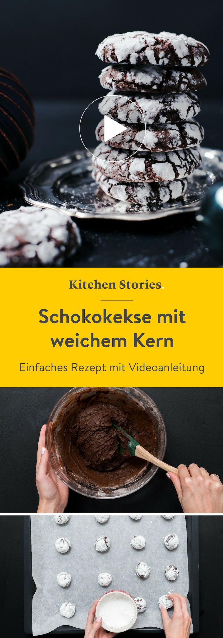 Zarte Schokokekse mit weichem Kern: Rezept | Kitchen Stories