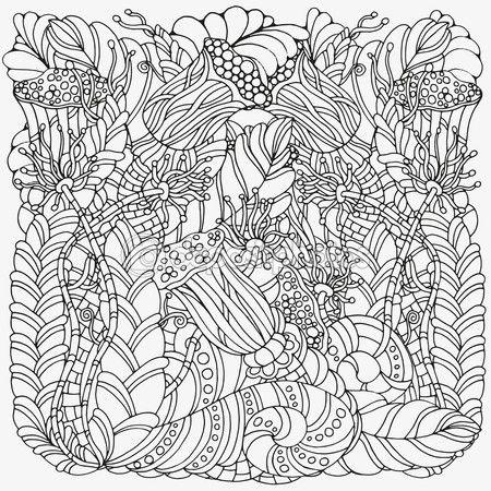 Doodle floral. Patrón blanco y negro — Stock Illustration #103794522