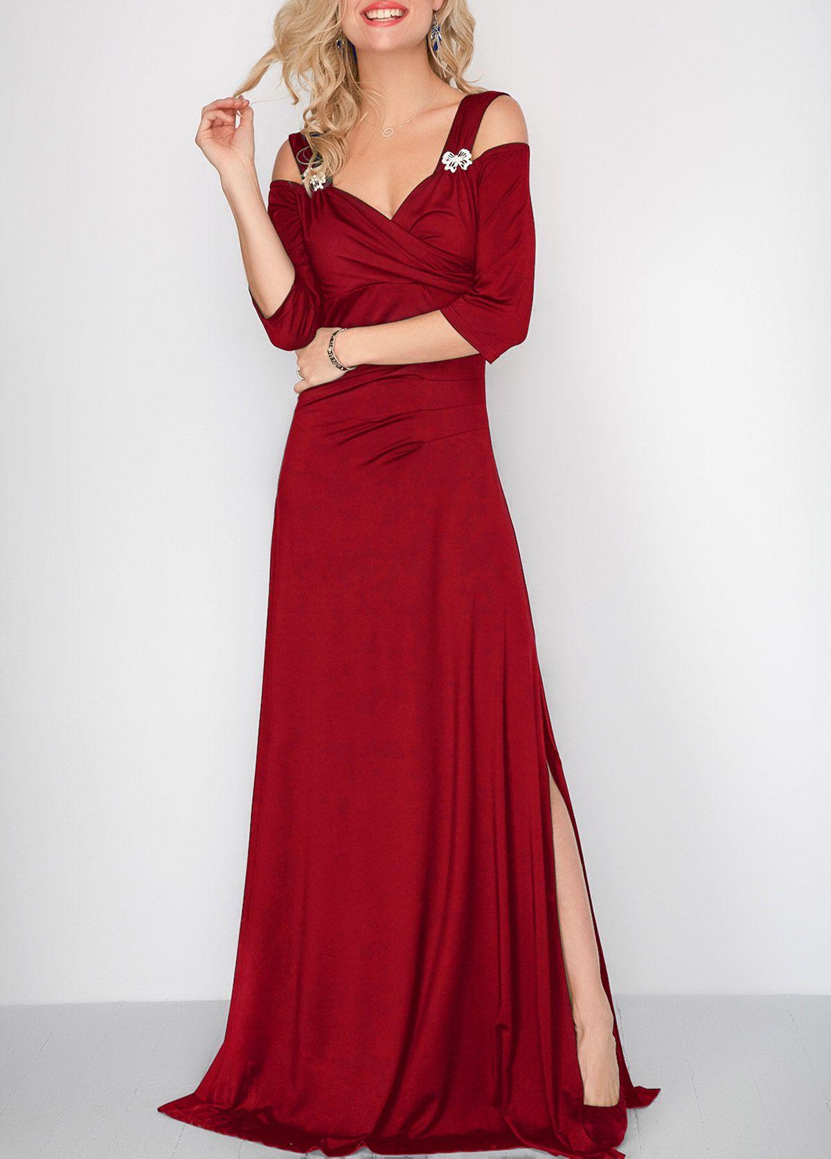 Three quarter sleeve side slit maxi dress in dress