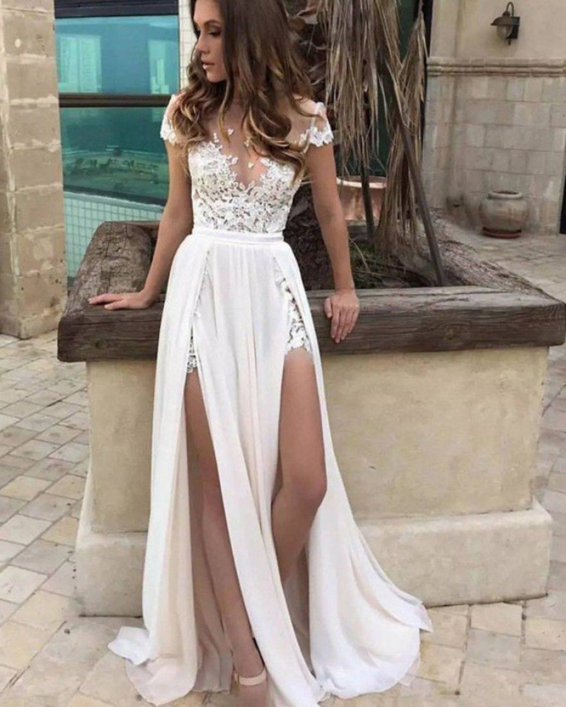 443b73723bce5 Chiffon Lace-Appliques Front-Split A-line Elegant Short-Sleeve Prom  Dress_Prom Dresses_Special Occasion Dresses_High Quality Wedding Dresses,  Prom Dresses, ...