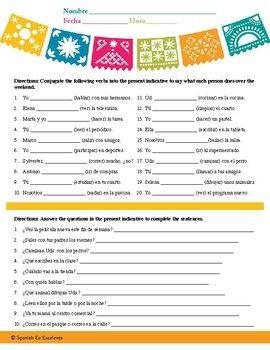 Spanish Present Indicative Worksheet (Beginner Level) - JB ...