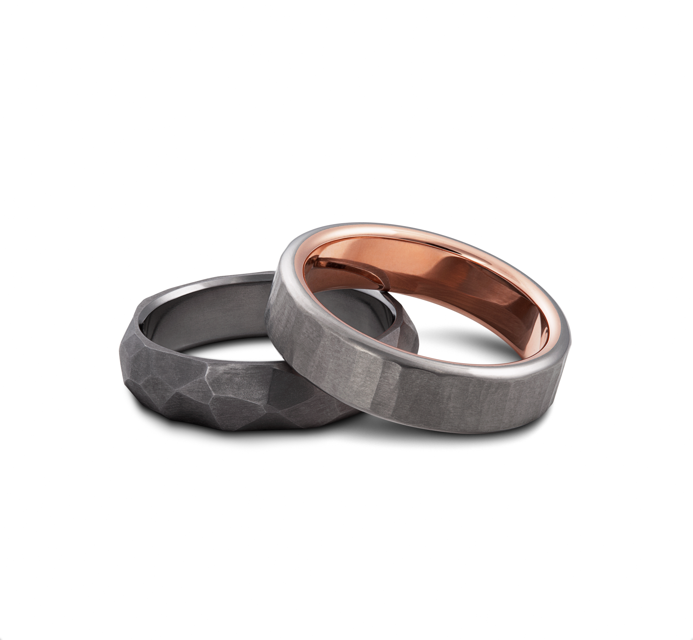 Tantalum Wedding Rings Faceted style and Hammered Rings