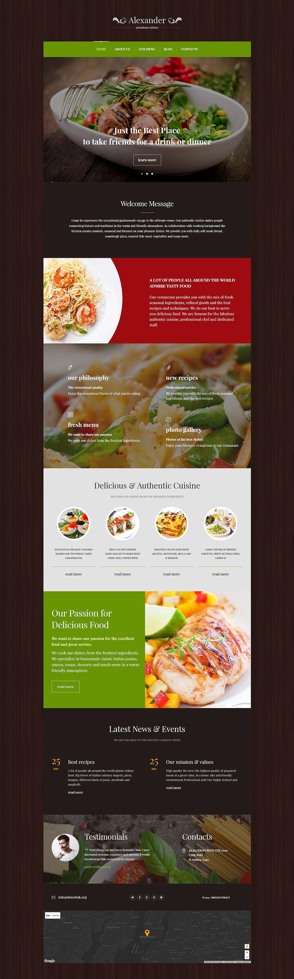 Premium cuisine wordpress theme monstroid