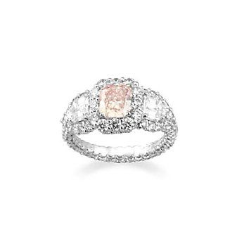 Platinum and 18k Pink Purple Diamond Ring - For the bride that wants a little color!
