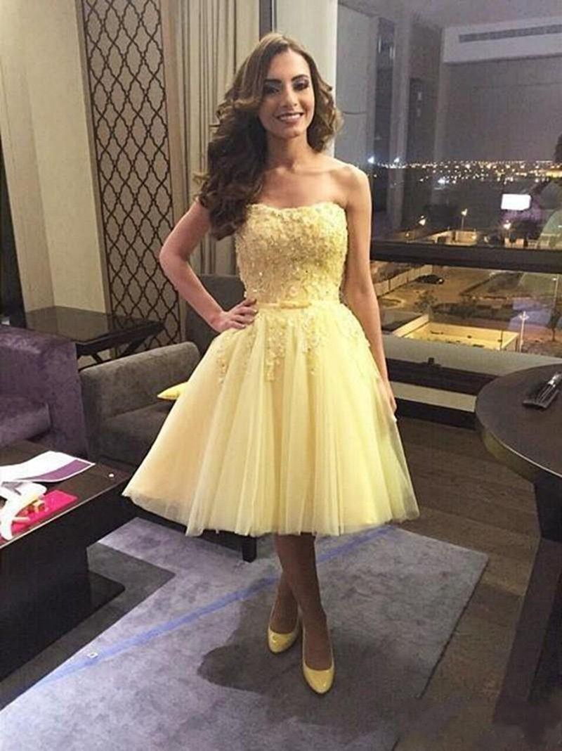 Strapless short yellow graduation dress evening u prom dresses
