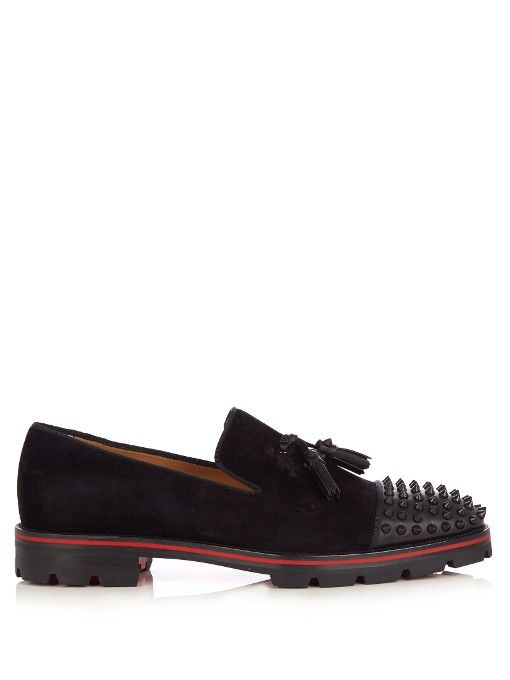 CHRISTIAN LOUBOUTIN Rossini spike-embellished suede loafers.   christianlouboutin  shoes  flats b51a1f22f125