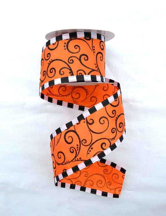 2.5 Orange/White/Black Halloween Swirl Mix by CustomWreathDecor