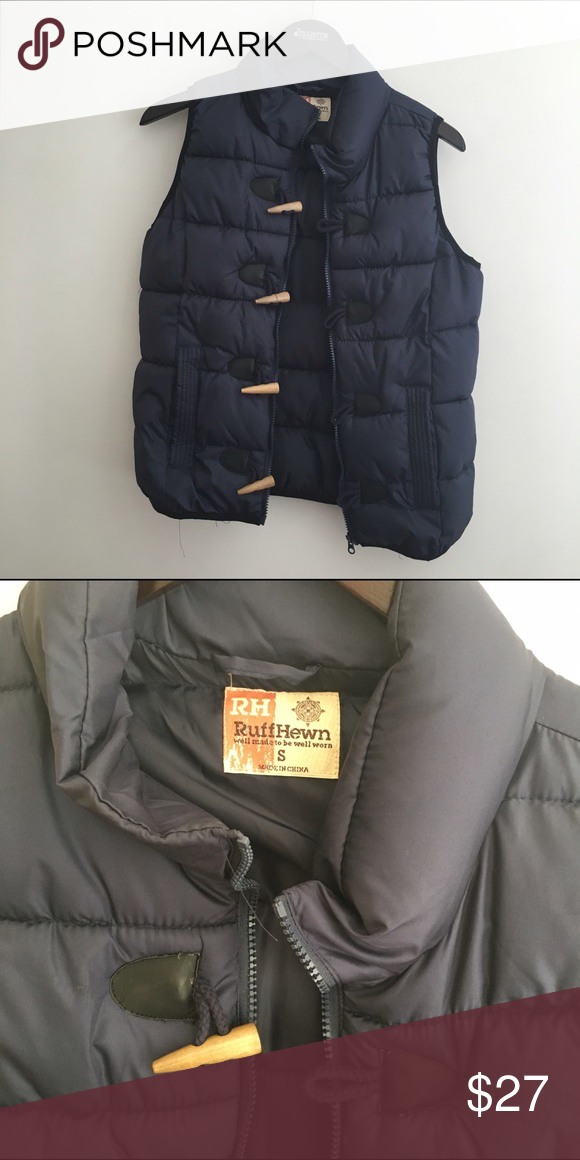 Ruff Hewn Vest Navy blue puffy vest with fun wood toggles. Worn only a few times. Ruff Hewn Jackets & Coats Vests