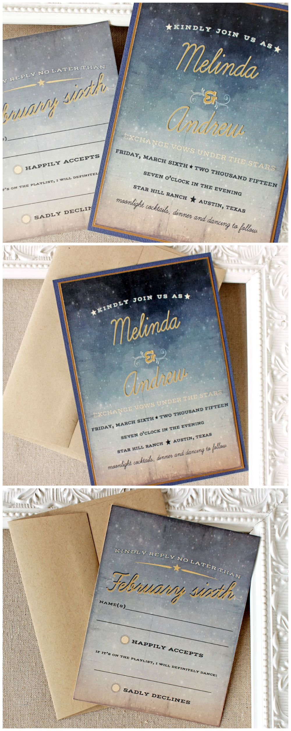 Starry Night Wedding Invitation Twilight Wedding Invite Outdoor