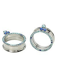HOTTOPIC.COM - Steel Blue Cubic Zirconia Eyelet Plug 2 Pack (2g, 0g)