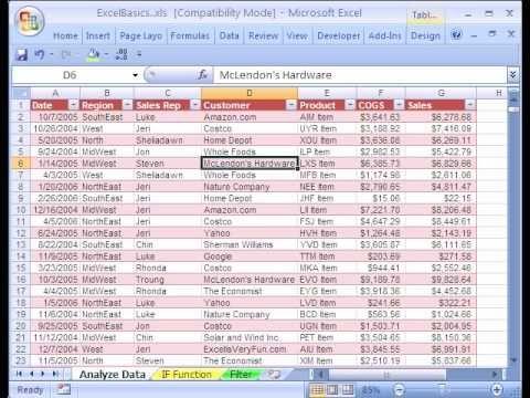 Excel Basics 18 Data Analysis Sort Excel Excel Spreadsheets Data Analysis