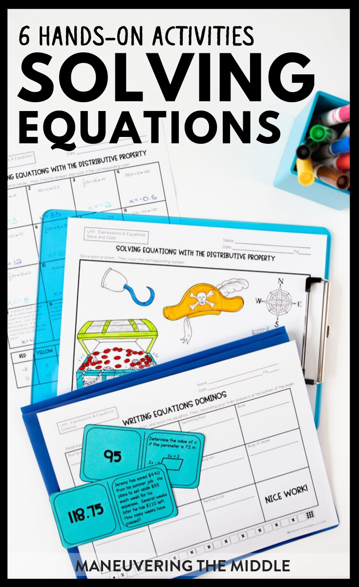 Expressions And Equations Activity Bundle 7th Grade Maneuvering The Middle 7th Grade Math Math Teks Solving Equations Activity [ 1200 x 735 Pixel ]