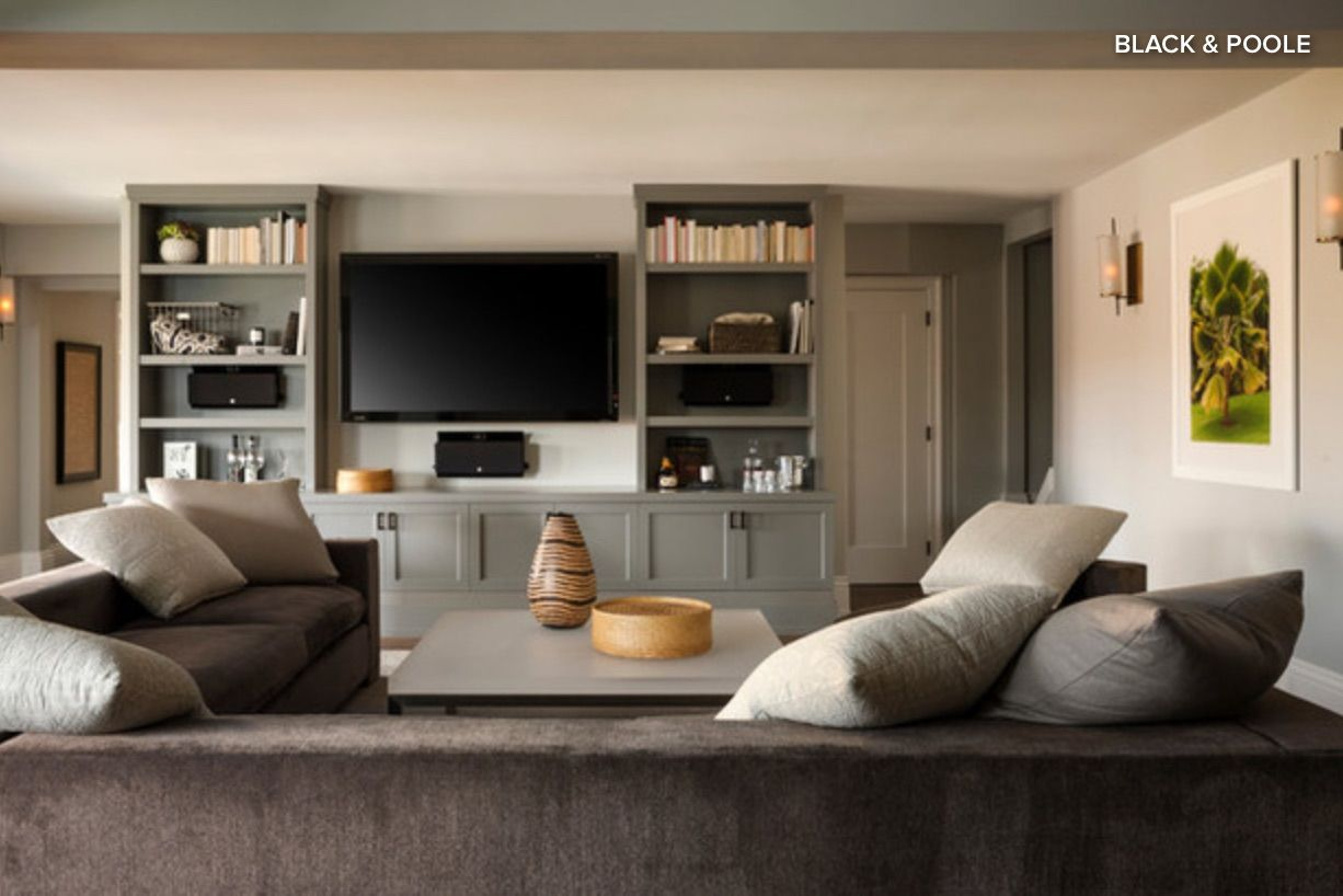 Our floating TV wall might look a lot like this!