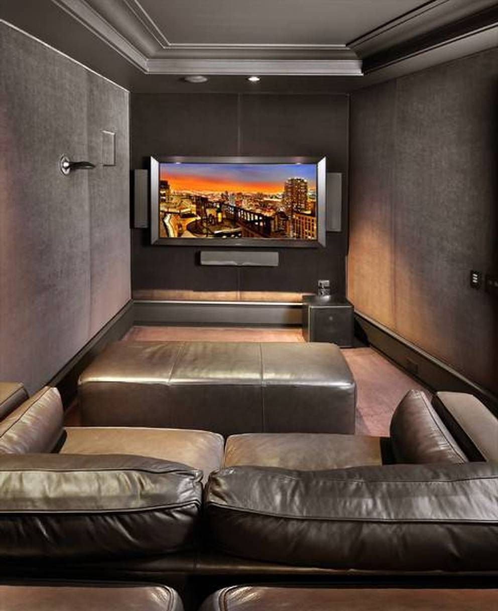 Elegant Home Design And Decor , Small Home Theater Room Ideas : Modern Small Home  Theater Room With Leather Loveseat
