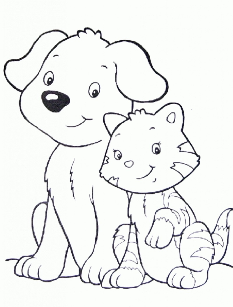 Puppy And Kitten Coloring Pages Nice Pictures Educative Printable Dog Coloring Page Cat Coloring Page Animal Coloring Pages