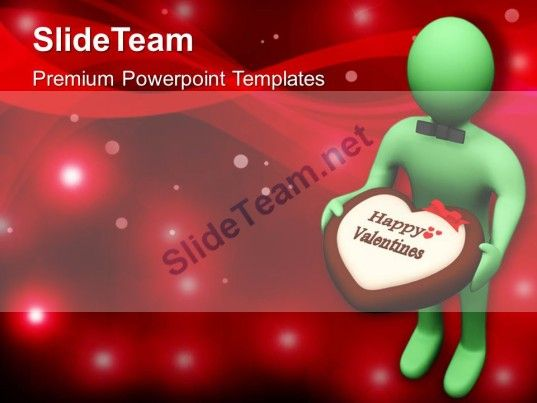 Man Offering Chocolate Treat With Valentine Note PowerPoint - Awesome valentine powerpoint backgrounds ideas