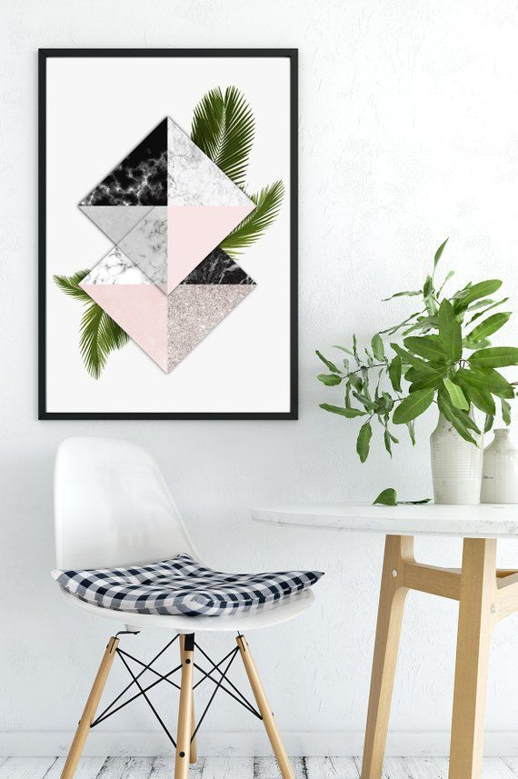 Contemporary Blush Pink Marble Rose Gold Wall Art Greenery Poster Palm Leaves Art Modern Geometric Art
