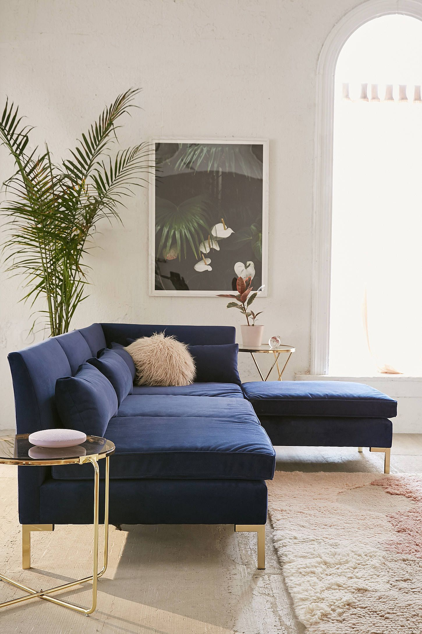 Cecilia Velvet Sectional Sofa in 2019   Home   Sectional sofa ...