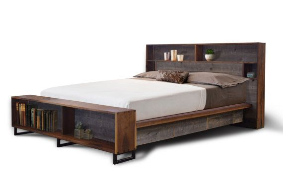 The Platform Bed With Headboard Storage Black Walnut