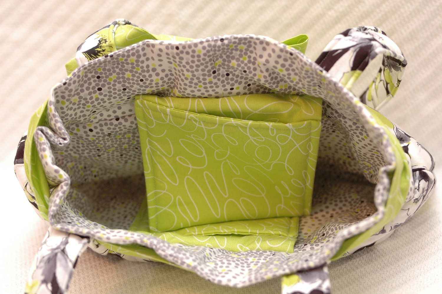 My girlfriend just posted her first etsy item! So cute!!! JoJo Bag  Black & White with Lime Green by StitchesandWishes, $40.00