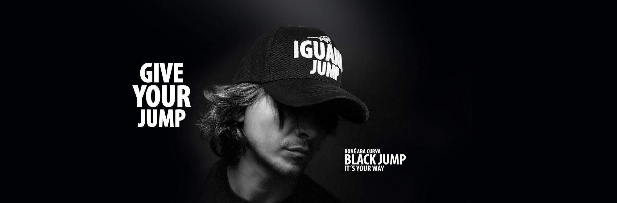 ... aba curva feminino e masculino de Iguana Jump. Boné preto 8bfb53d38e63c