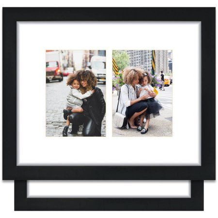Craig Frames 11x14 Black Picture Frame Single White Collage Mat With Two 5x7 Openings Set Of 2 Walmart Com Black Picture Black Picture Frames Craig Frames