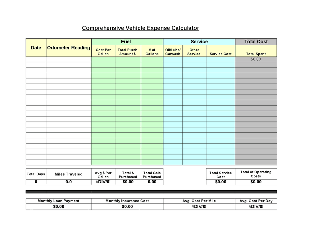 Vehicle Expense Calculator  Expense Report