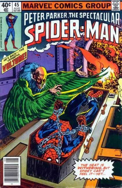 Spectacular Spider-Man (1976) 45 - Spiderman - Marvel Comics - Vulture - Fire - Coffin