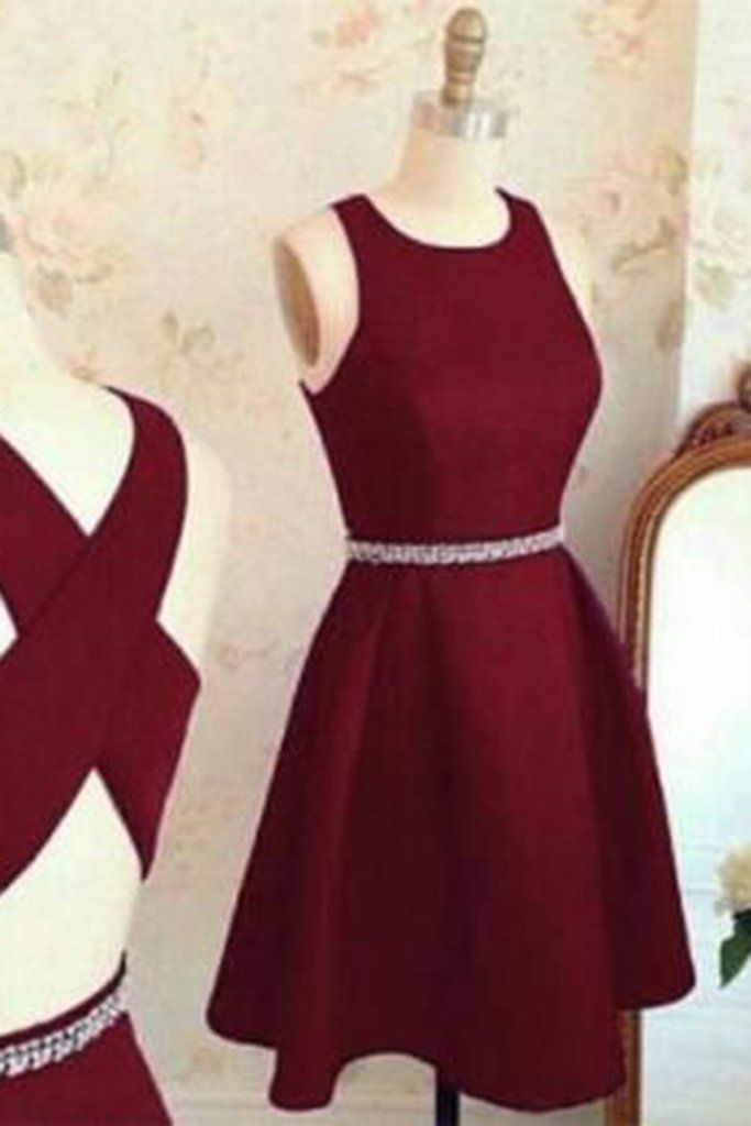 Burgundy chiffon round neck a line cross back short prom for Teenage dresses for a wedding