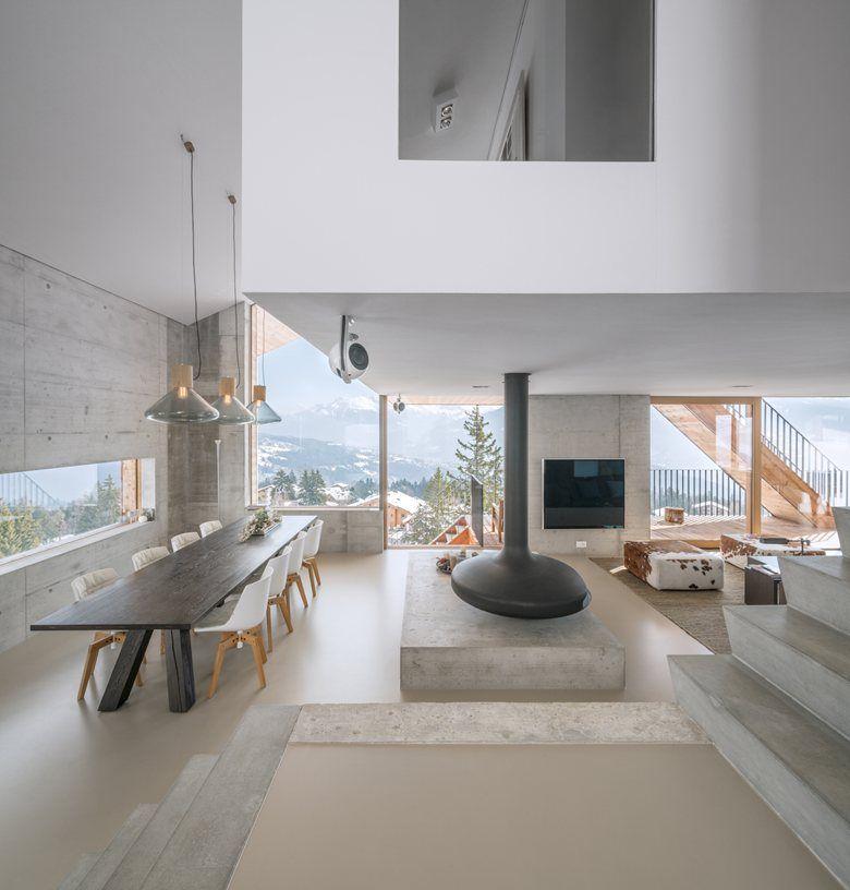 #Chalet Anzère, #Switzerland | SeARCH #interiors #concrete #mountain