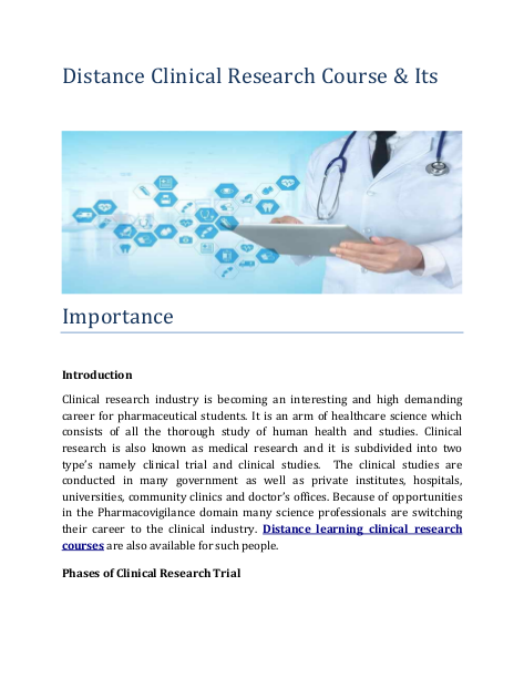 Clinical Research Industry Is Becoming An Interesting And High Demanding Career For Pharmaceutical Students It Is An Clinical Research Clinic Learning Courses