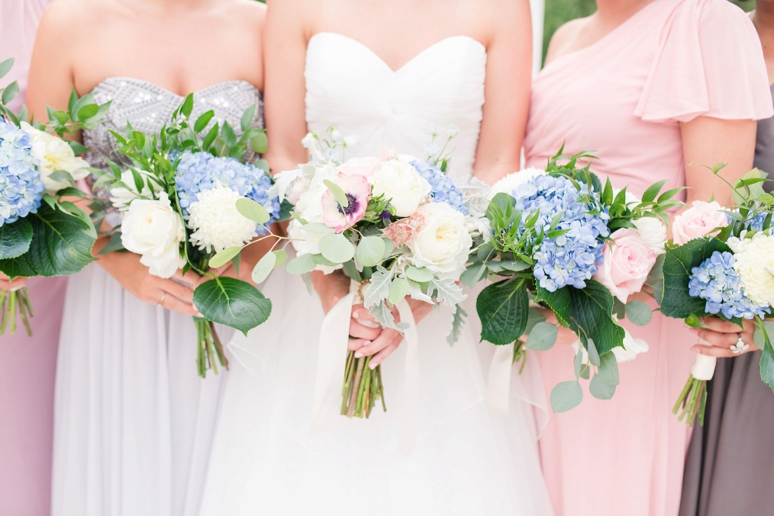 Woman's Club of Portsmouth Wedding by Angie McPherson Photography, Grey and blush bridesmaid dresses