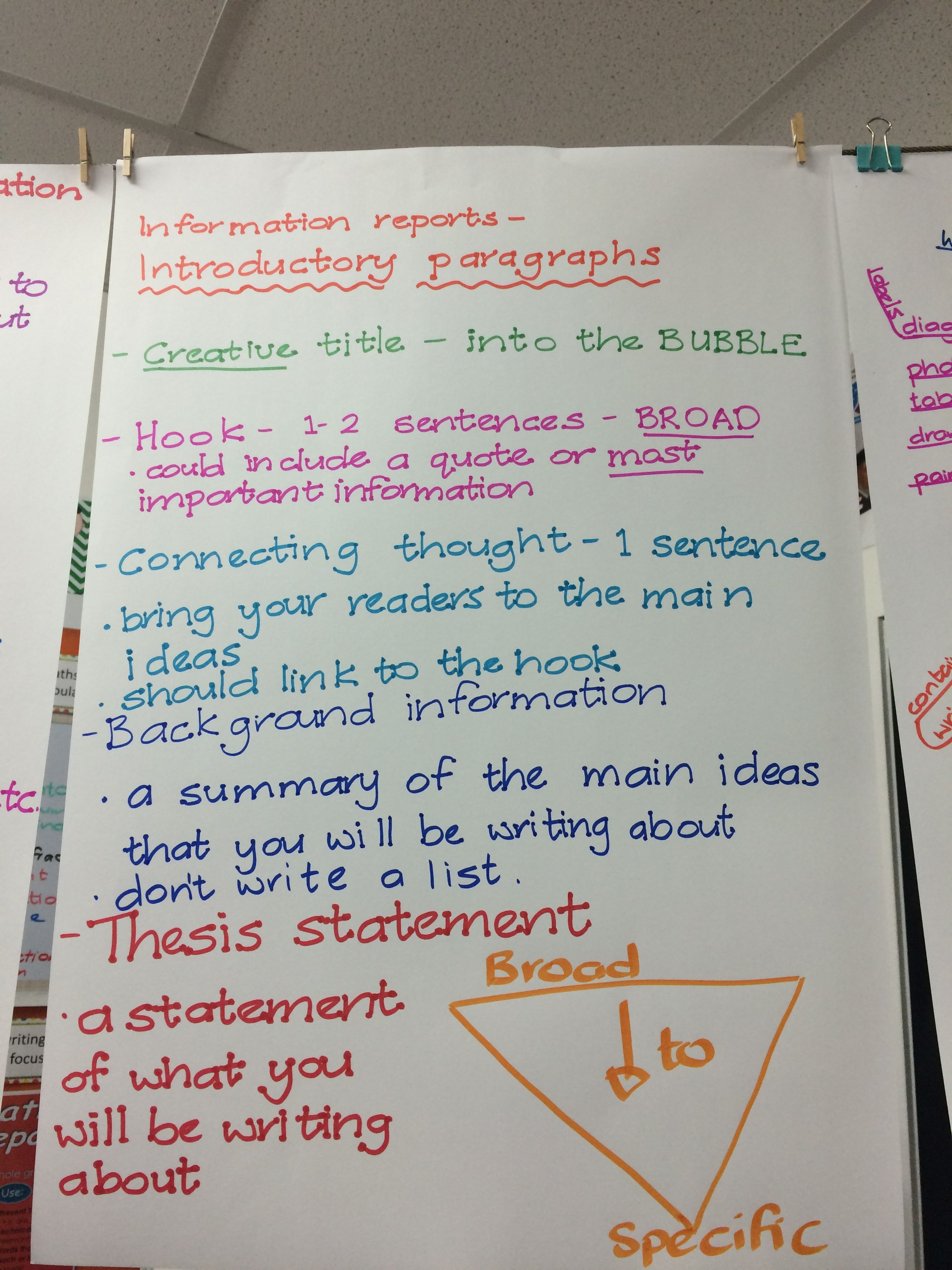 How to structure an introductory paragraph (information reports