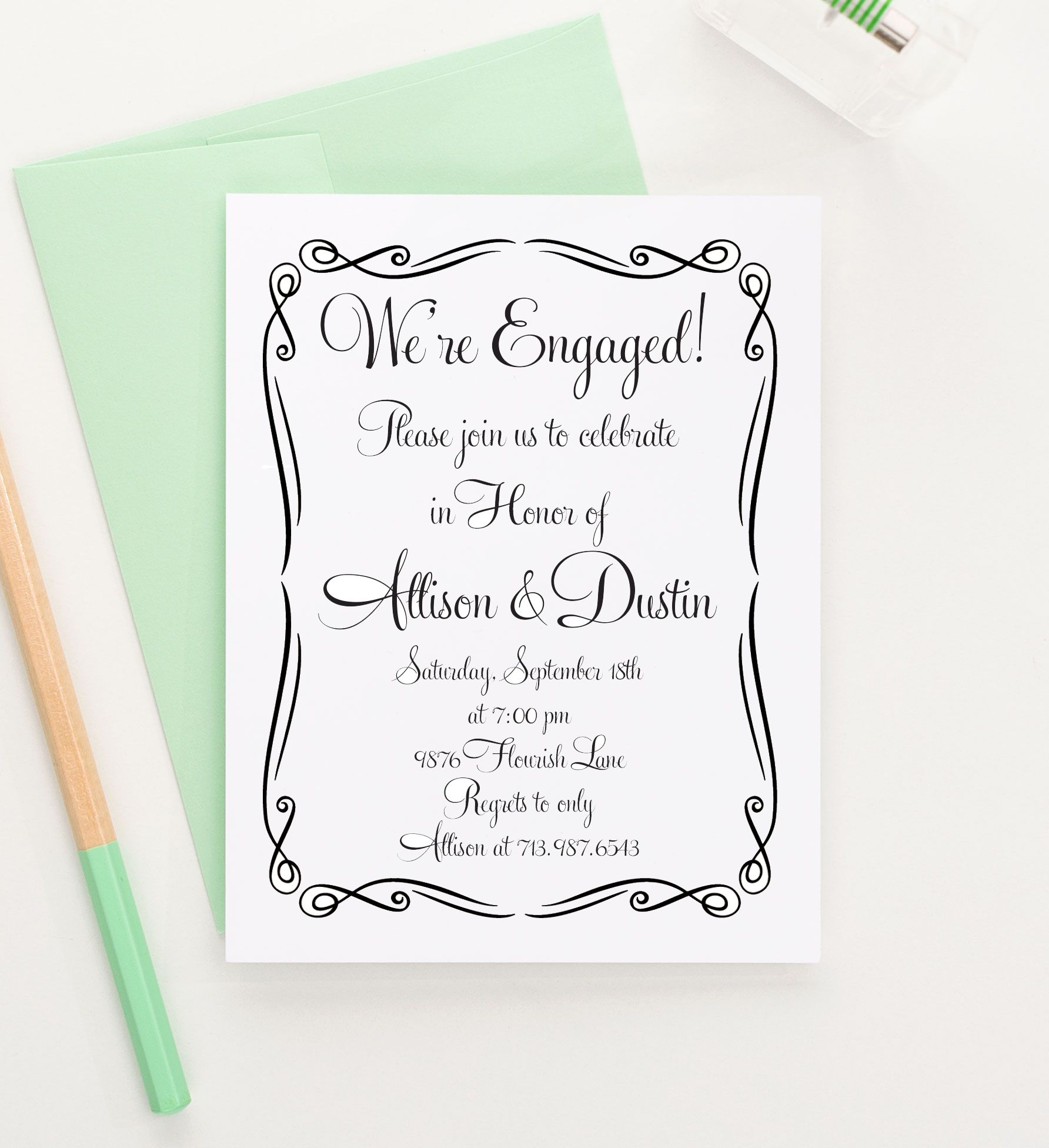 Simple and Flourished Engagement Party Invitations, Modern ...