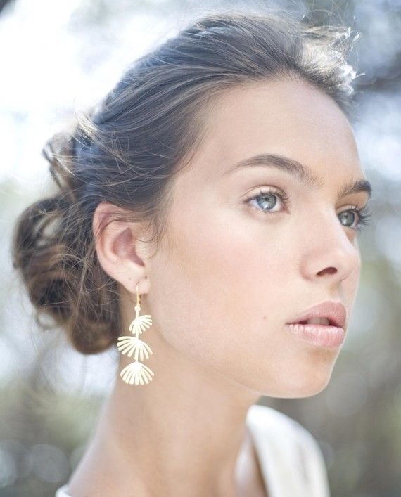 Long Fan Earrings in Gold