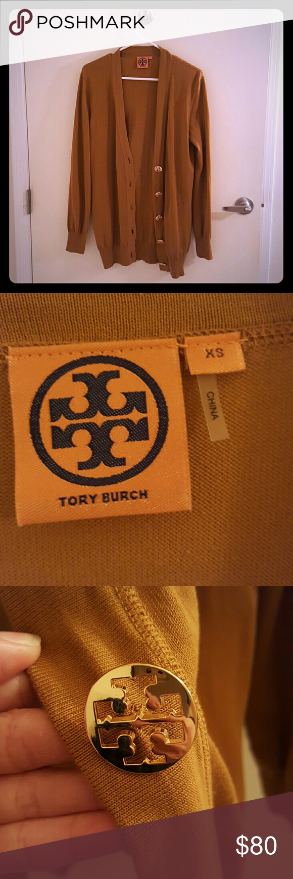 Tory Burch Long Cardigan Long Tory Burch Cardigan in dark mustard yellow. Brand new, no tags, in size XS. Tory Burch Sweaters Cardigans