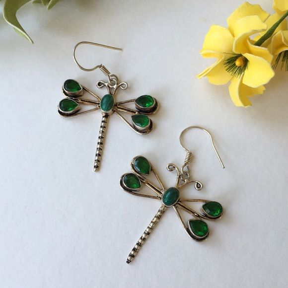 """Artisan Dragonfly Earrings with Stones Silver style and silver look but no silver mark. Clear green stones at wings, opaque green stone at body. Dragonfly measures 1.5"""" x 1.5"""". Earring drop from wire hook to tip of body 2 1/4 inches. My guess, Thailand silver.❤️ Jewelry Earrings"""
