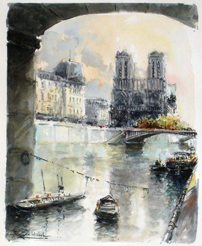 Stephane Wrobel Notre Dame Art Parisien Aquarelle Paris