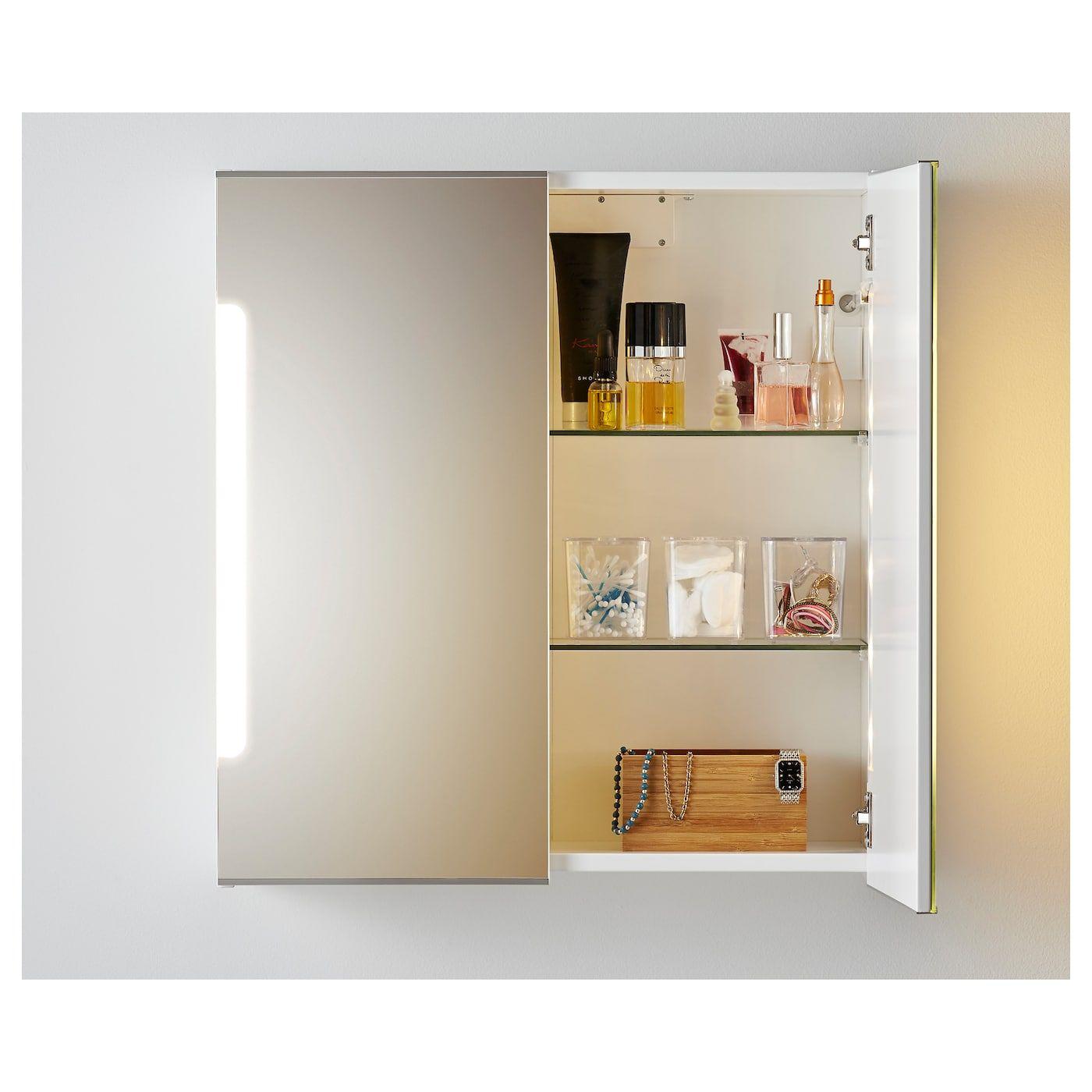STORJORM Spiegelschrank m. 2 Türen+int. Bel. weiß