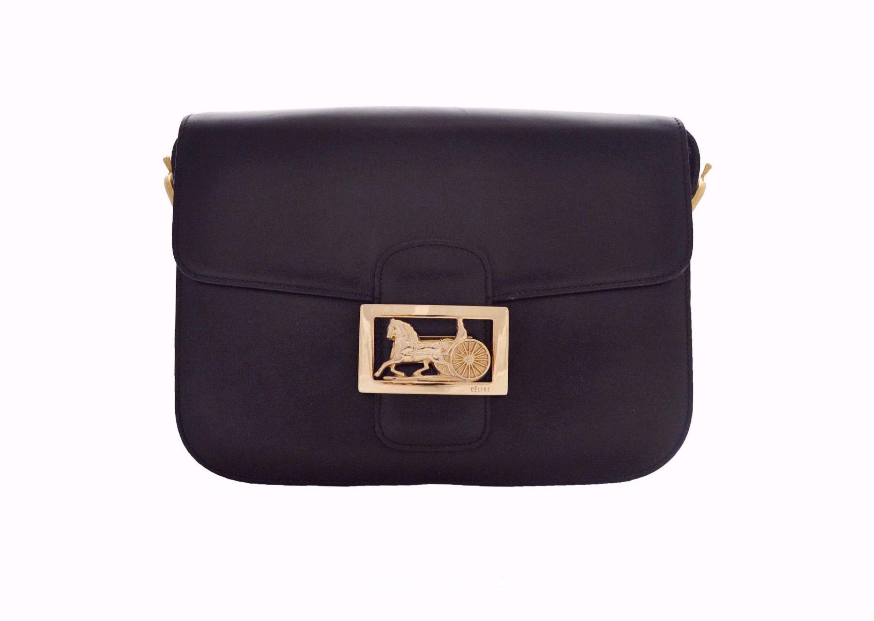 Celine Vintage Bag Classic Box In Black Vintage Designer Bags Bags Vintage Chanel